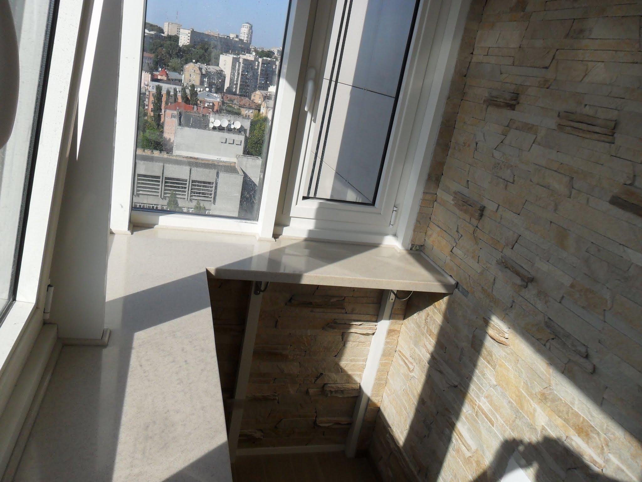 Угловой подоконник на балконе. - лоджии - каталог статей - б.